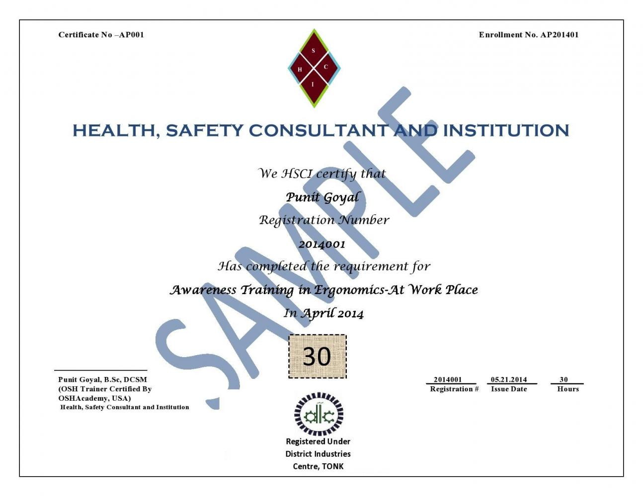Healthsafety consultant and institutionnewai home services certificate sample xflitez Gallery